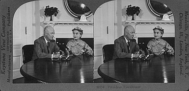 38554 President Dwight D. Eisenhower with Oveta Culp Hobby, Secretary of Health Education and Welfare.